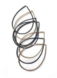 bronze and steel droplet bracelets - set of 8 stacking bracelets