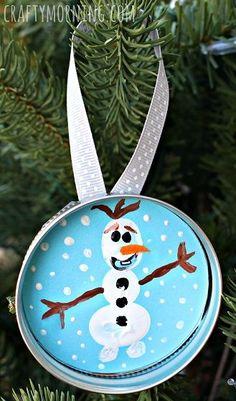 Fingerprint Frozen Olaf Christmas Ornament for Kids to make - Use a mason jar lid!   CraftyMorning.com