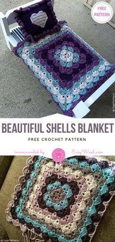 Beautiful Shells Blanket Free Crochet Pattern   EASYWOOL