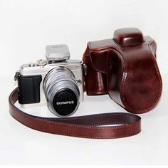 Kindofsmile Brown Pu Leather Camera Case Cover Bag for Olympus PEN Lite Epl5 Epl5 with Shoulder Strap ** Click on the image for additional details. This is Amazon affiliate link.