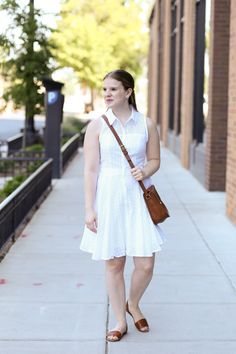 white shirt dress, eyelet, slingback sandals, coach bag, saddle bag, kendra scott rings, madewell, forever 21, ann taylor, outfit, fashion, women, style