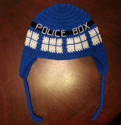 Ravelry: Crochet TARDIS Hat pattern by Acquanetta Ferguson.doctor who O. Crochet Beanie, Crochet Baby, Free Crochet, Knitted Hats, Knit Crochet, Ravelry Crochet, Crochet Tardis, Doctor Who Crochet, Yarn Projects