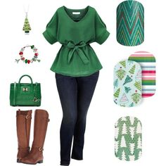 Jamberry Christmas 2016 Green by jessica-osgood on Polyvore featuring Old Navy, Naturalizer, Diane Von Furstenberg and Bling Jewelry