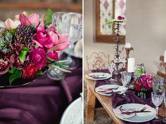 winter burgundy tablescape