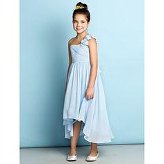 Asymmetrical Chiffon Junior Bridesmaid Dress - Mini Me A-line One Shoulder with Flower(s) / Criss Cross – USD $ 69.99