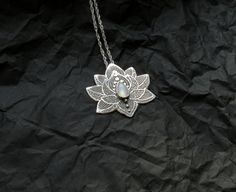 Lotus Pendant - Water Lily Necklace - Silver Flower Necklace - Moonstone Necklace - Heart Chakra Necklace shoes message Lotus Yoga Pendant in sterling Silver, Moonstone Chakra Necklace Lotus Necklace, Chakra Necklace, Moonstone Necklace, Flower Necklace, Pendant Necklace, Key Pendant, Lotus Jewelry, Moonstone Pendant, Rope Necklace