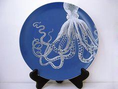 Octopus  Melamine Plate  Dinnerware  Ocean  Gift by BurkeHareCo, $18.00