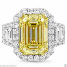 Natural 7.09 TCW 18K White Gold Fancy Yellow Emerald Cut Certified Diamond Ring #SageDesigns #SolitairewithAccents