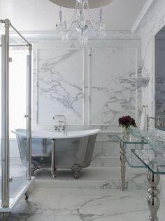 Kendall Wilkinson Design - bathrooms - marble tiled floors, marble floor tile, marble tiled bathroom, gray and white marble, marble wainscot. White Marble Bathrooms, Big Bathrooms, Beautiful Bathrooms, Master Bathroom, Luxury Bathrooms, Bathroom Gray, Granite Bathroom, Stone Bathroom, Small Bathroom