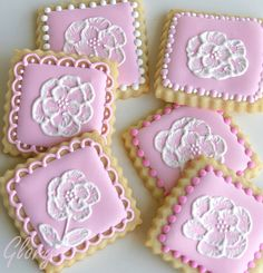 Brush Embroidery Cookies by Glorious Treats Cookies Roses, Cookies Cupcake, Lace Cookies, Pink Cookies, Galletas Cookies, Flower Cookies, Cookie Icing, Biscuit Cookies, Cupcakes