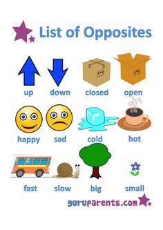 List Opposites for Preschoolers Printable Worksheets    Opposites Worksheets - Match the Opposites