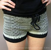 Ravelry: Knitted Shorts With Cable Design pattern by Bronislava Crochet Mens Shorts, Crochet Shorts Pattern, Knit Shorts, Knit Crochet, Crochet Jacket, Beanie Pattern, Pajama Shorts, Knitting Patterns Free, Free Pattern