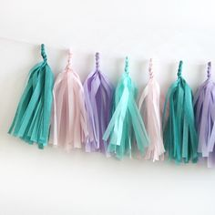 Our Mermaid Fringe Tassel Garland Kit is the perfect party accessory. This party garland span about 6 feet and comes with 16 tassels per kit. Makes a great and easy backdrop or bunting in front of a t Little Mermaid Birthday, Little Mermaid Parties, Unicorn Birthday, Unicorn Party, Mermaid Baby Showers, Baby Mermaid, Mermaid Room, Party Garland, Tassel Garland