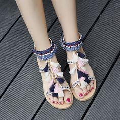 9bd61ea5ede14 2017 Women Bohemia Gladiator Multicolored Pom Pom Sandals Lace Up Flat Heel  Fringe Tassel Boho Sandalias Pompones Beach Shoes