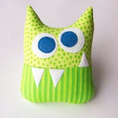 Tooth Fairy Pillow - Personalized Monster - Green Dots and Stripes with Blue Eyes