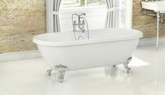 Freestanding Traditional Roll Top Bath - Wilmslow By Synergy Traditional Bathtubs, Traditional Bathroom, Claw Foot Bath, Roll Top Bath, Clawfoot Bathtub, Victorian Fashion, Bathing, Luxury, Freestanding Bath