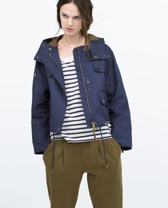 Image 2 of TECHNICAL FABRIC SHORT JACKET WITH POCKETS from Zara