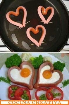 Heart sausages with eggs for breakfast
