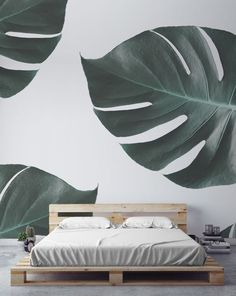 Love the look of monstera leaves? This jungle wallpaper brings the beauty of this mesmerising jungle foliage to your walls. Pair with minimal bedroom spaces for a totally tranquil look.