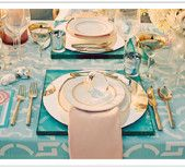 "patterned tableclothes!  Love the translucent blue square ""place mat"" effect too!"