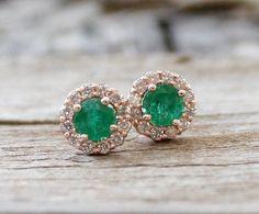 Colombian Emerald Diamond Halo Stud Earrings in 14K Rose Gold