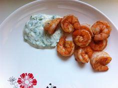 Harissa Shrimp with Cilantro Garlic Yogurt Sauce - The Chic Site The Chic Site, Yogurt Sauce, Yummy Appetizers, Cooking Ideas, Cilantro, Food Network Recipes, Shrimp, Nom Nom, Main Dishes