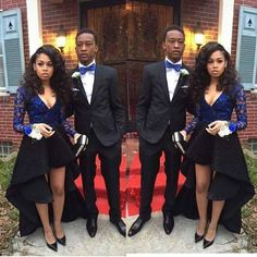 Prom couple - black & blue outfits. Beautiful!