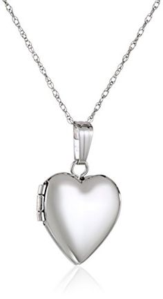 Children's White Gold Heart Locket Necklace, white gold necklace for baby or child featuring heart locket with polished finish. Hand crafted in the USA. Gold Heart Locket, Heart Locket Necklace, Heart Of Gold, Gold Necklace, Girls Necklaces, Jewelry Necklaces, Kids Clothes Online Shopping, Little Boy Fashion, White Gold