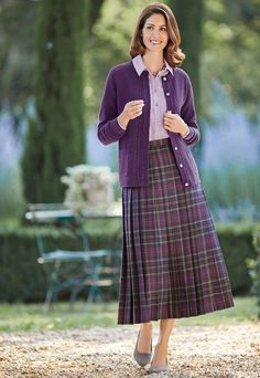 All-round knife pleat skirt | £129 | Featuring an exclusive pure wool check fabric woven in a British heritage mill, this fully lined skirt has knife pleats sewn down to the hip, side back waistband elastication and a side zip fastening.