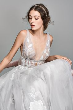 Wedding Dresses With Sleeves Poofy Willowby Galatea Embroidered V-Neck Tulle Wedding Dress Wedding Dress Necklines, Sexy Wedding Dresses, Tulle Wedding, Bridal Dresses, Wedding Gowns, Dresses Short, Dresses Dresses, Gray Weddings, Nordstrom Dresses