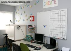 Polish The Stars: My New Craft Room Love the light box arrangement