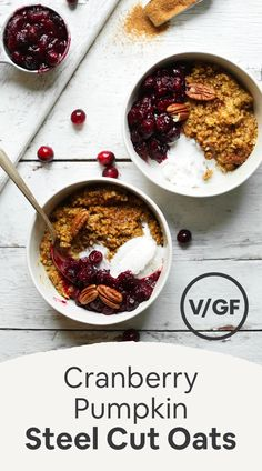 DELICIOUS Cranberry Pumpkin Steel Cut Oats! Naturally sweetened, cozy, and ready in 25 minutes! #glutenfree #oats #pumpkin #vegan #breakfast #minimalistbaker