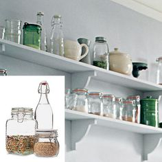 various glass containers. pretty.