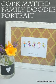 Cork Matted Family Doodle Portrait -- a fun printed cork mat becomes the background for an amazing one of the kind doodle art that you can h...