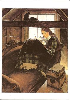 "Norman Rockwell, 1937 - ""The Most Beloved American Writer"" (Louisa May Alcott). Collection of George Lucas.  Jo March, (protagonist of ""Little Women"" & surrogate for Alcott) in the act of creating the novel, a coming-of-age story. ""The sun lay warmly in the high window, showing Jo seated on the old sofa, writing busily, w/ her papers spread out upon a trunk before her, while Scrabble, the pet rat, promenaded the beams overhead, accompanied by his oldest son"" --from Ch. 14"