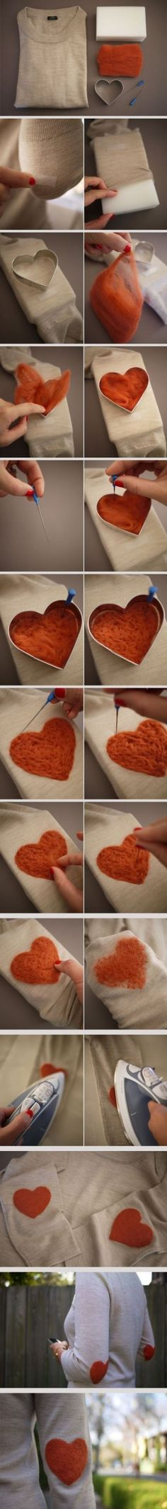 DIY heart-shaped woolen sweater