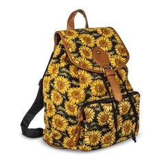 Women's Sunflower Pring Backpack Handbag - Yellow/Black Mossimo Suply Co. Backpack Bags, Leather Backpack, Fashion Backpack, Fashion Bags, Sunflower Accessories, Women's Accessories, Back To School Fashion, Bags Online Shopping, Yellow Handbag