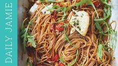With vine tomatoes and creamy ricotta, this superfood spaghetti by Jamie Oliver is everything Jamie Oliver, Yummy Pasta Recipes, Healthy Dinner Recipes, Chicken Recipes, Recipe Pasta, Dough Recipe, Healthy Meals, Delicious Recipes, Vegetarian Recipes