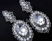 "PAIR Bridal Wedding Big Gem Crystal Drop Earrings Dangle Gauges Plugs 2g 0g 00g 7/16"" 1/2"" 6mm 8mm 9mm 11mm 12mm"