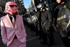 I assume this is at some kind of protest. Any way, Darth Vader looks cool in his pink helmet and matching pink suit. Dark Vader, Robin, Pink Helmet, Pink Suit, Demotivational Posters, My Tumblr, Looks Cool, Make Me Smile, Pinstriping