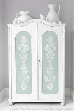 fab diy furniture stenciling ideas with royal design studio stencils, painted furniture, A Delicate Damask panel stencil pattern is perfect for stenciling large armoire doors
