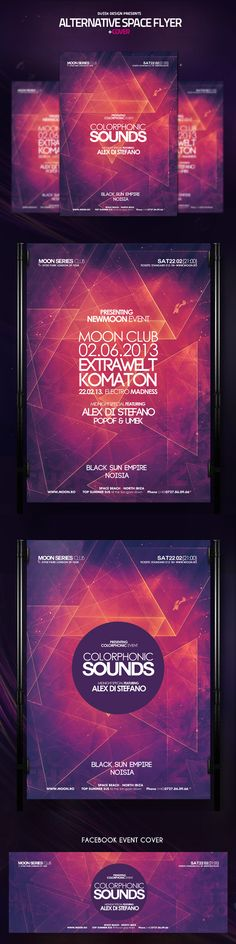 Alternative Space Flyer and Cover – This flyer / poster can be used to promote an electronic music event or a one night stand club summer party. This psd template is suitable for any space themed event or for a dubstep, drum n bass, techno, minimal and ho…