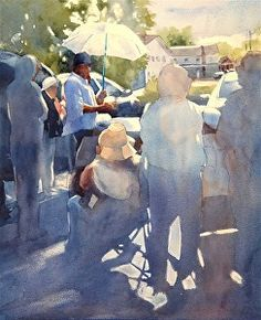 Alvaro And The White Umbrella by Sarah Yeoman Watercolor ~ 22 x 16