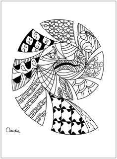 Simple Zentangle Drawing To Print Color