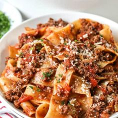 Classic Homemade Bolognese Sauce (Pappardelle) - Spend With Pennies Best Bolognese Recipe, Homemade Bolognese Sauce, Homemade Meat Sauce, Homemade Lasagna, Authentic Bolognese Sauce, Homemade Ravioli, Sauce Recipes, Pasta Recipes, Beef Recipes