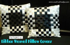 How to make ribbon work cushions-pillows @creativekhadija : Featured Post on Turn it up Tuesdays