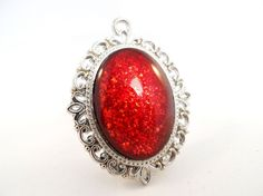 Red Flakie Glitter Nail Polish Necklace - 'Ruby Rush' Handmade Sparkly Maroon Duochrome Flake Silver-plated Nail Varnish Pendant Jewelry