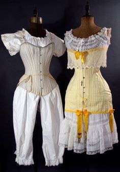 Left: grey cotton long line corset worn over one piece cami-knickers, and additional bustle pad tied around waist, c. Right: Yellow and white striped. Victorian Era Fashion, Vintage Fashion, Edwardian Dress, Edwardian Era, Green Gables, Vintage Lingerie, Historical Clothing, Frou Frou, Fashion Plates