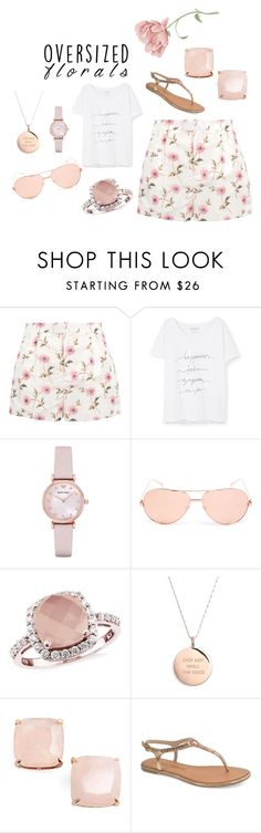 """Oversized Floral Rose Gold"" by trendmeup on Polyvore featuring RED Valentino, Violeta by Mango, Emporio Armani, Linda Farrow, Kate Spade and Chinese Laundry"