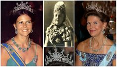 The Nine Prong or Queen Sophia´s Diamond Tiara. A distinctive neo-classical design. Made in Berlin for King Oscar II's wife, Queen Sophie, nee Princess of Nassau. More than 500 diamonds arranged in a sunburst-type motif that terminates in 9 graduated prongs topped with 5-pointed star-like clusters. A favourite of Queen Silvia and part of the Bernadotte found. Neither of her daughters have yet to wear it.